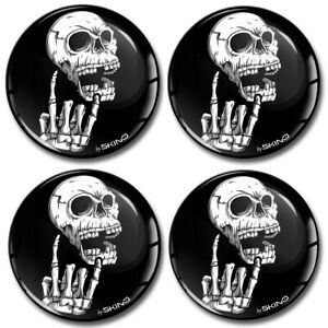 55mm 3D Silicone Stickers Decals Wheel Center Hub Rims Caps Heavy Metal Skull