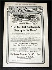 "1910 OLD MAGAZINE PRINT AD, PULLMAN MODEL ""K"" TOURING CAR, LIVES UP TO ITS NAME!"