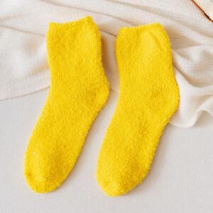 2Pairs Coral Fleece Floor Socks Winter Fluffy Mid-Calf Short Hosiery Feet Warmer
