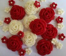 32 RUBY/IVORY FLOWERS Edible Sugar cake topper Wedding anniversary birthday cupc