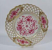 Teichert Teller Durchbruchteller Indisch Purpur Goldstaffage D 20 cm Porzellan