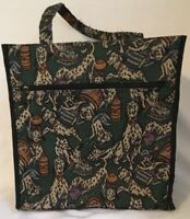 """Green Dalmatians Black Canvas Dog Large Tote Craft Yarn Bag 13"""" without handle"""