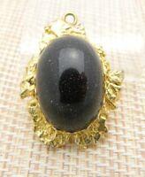 Black Goldstone Gold Tone Oval Necklace Pendant Vintage