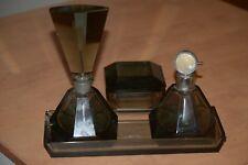 Vintage Czech Perfume Bottle Set with Powder Box Smoke Glass Has Damage Art Deco
