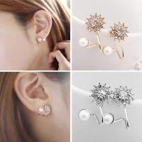 1Pair Women Fashion Jewelry Lady Elegant Pearl Rhinestone Ear Stud Earrings New