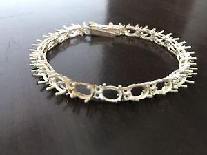 Silver 5x7 mm oval Semi Mount Bracelet Setting 925 Sterling Silver Bracelet