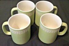 CORELLE ALPINE GLADE LOT OF 4 LARGE COFFEE MUGS HTF SPONGED GREEN TAN LEAVES