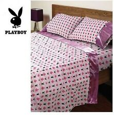 PLAYBOY PINK LOVE DOUBLE BED SATIN SHEET SET  BEDROOM HOME DECOR RRP: $148