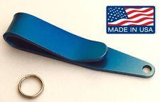 Titanium Pocket Suspension Clip EDC. Lanyard Keys Camera Knife Keychain Blue