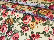 ROSE & HUBBLE CHINTZY MIXED PINK ROSES IVORY FABRIC 100% COTTON 112CM WIDE METRE