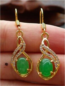 Gold Plate CHINESE Green JADE Earrings Dangle *8* Circle Cabochon 耳环 320155