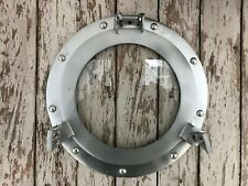 "11"" Porthole Glass ~ Natural Grey Finish ~ Nautical Decor ~ Ship Cabin Window"