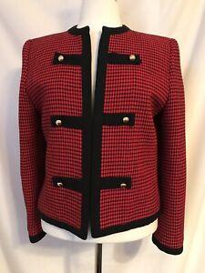 Vintage Lilli Ann Red & Black Open Jacket 8