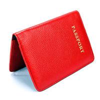 Red 100% Genuine Leather Passport Holder RFID Blocking Travel Card Wallet Pouch