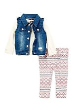 NWT $79 7 For All Mankind Vest LS Tee Jean 3-Piece Set Girls Size 4T