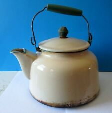 ANTIQUE CREAM WITH GREEN TRIM TEAPOT KETTLE Graniteware Enamelware WELL USED