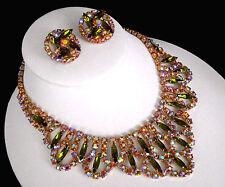 Sign Alice Caviness Olivine & Pink AB Rhinestone Bib Stement Necklace & Earrings