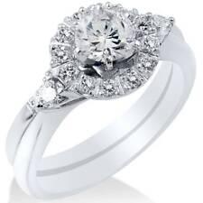 1 1/10ct Diamond Halo 3-Stone Engagement Ring 14K White Gold Round Wedding Set