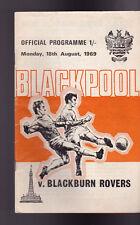 Blackpool Football Club Official Programme v Blackburn Rovers August 18 1969