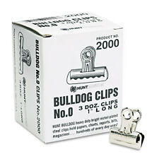 "X-ACTO Bulldog Clips, Steel, 5/16"" Capacity, 1""w, Nickel-Plated, 36/box"