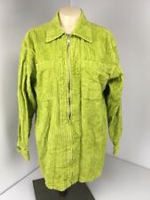 Vintage 90s Chartreuse Zip Thick Corduroy Jacket Grunge Exp Express Rare Green