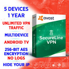 Avast SecureLine VPN 5 devices 1 year / AndroidTV and Streaming / Unlimited VPN