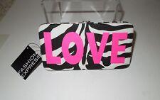 NWT Fashion Express Zebra Print Fabric Neon Pink LOVE Framed Clutch Wallet