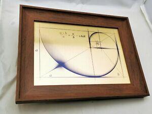 Fibonacci Golden Ratio WALL ART - Print on Gold Brushed Metal with Wooden Frame