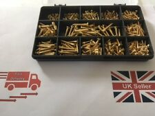 SOLID BRASS SLOTTED COUNTERSUNK WOOD SCREWS ASSORTED BOX 420 Pcs