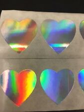 """50 Heart Shaped Holographic labels/Stickers 1 3/8"""" Wedding Day Craft Valentine"""