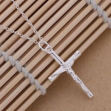 Cross Chain Crucifix Jesus Necklace Pendant 925 Sterling Silver Ladies Men's