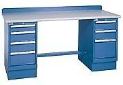 LISTA XSTB42-72BT 72x30 Technical Workbench, 2 Pedestal Cabinets, 7 Drawers, Woo