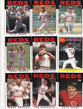 1986 Topps Reds master team set with traded NM-MT to Mint razor sharp Rose