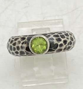 Silpada Sterling Silver R1416 Green Peridot Hammered Band Ring Size 6