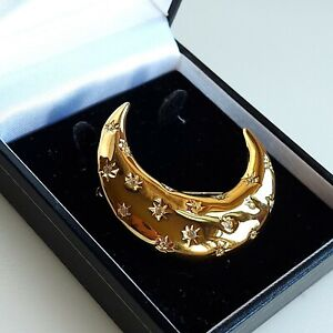 M & S Large Gold Tone Crescent Moon & Stars Brooch, Clear Rhinestone, Nice Gift
