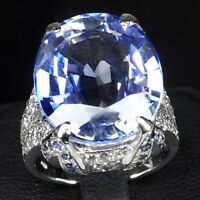 VIOLET BLUE TANZANITE OVAL RING 26.80 CT. SAPPHIRE 925 STERLING SILVER SZ 7.75