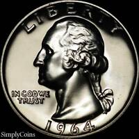 1964 Washington Quarter ~ GEM PROOF Uncirculated ~ 90% Silver US Coin MQ