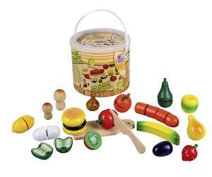 Happy People Holz Obst und Gemüse im Eimer 30-teilig Holzspielzeug 45043