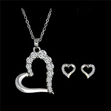 Large Heart Necklace Set Earring Set   Silver / White Gold Plated Gift