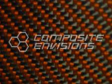 "Carbon Fiber Panel Made with Kevlar Orange .012""/.3mm 2x2 twill-48""x48"""