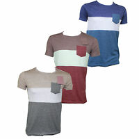 Mens Slim Fit Crew Neck T-Shirt Pocket Short Sleeve Tops Cotton Khaki Blue Red