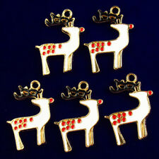 Spotted Deer Pendant Bead Fs59802 5Pcs Rainbow Dripping Oil Christmas