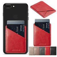 Leather Universal Credit Card Holder Cash Pocket Wallet For Cell Phone Stick On