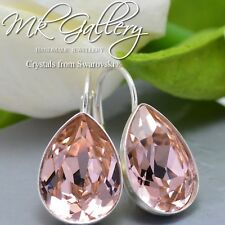 925 SILVER EARRINGS CRYSTALS FROM SWAROVSKI® PEAR FANCY STONE - VINTAGE ROSE
