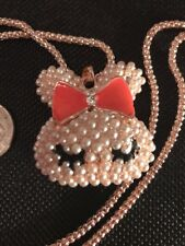 Betsey Johnson Necklace BUNNY RABBIT Coral Pearl Girl Bunny Head CRYSTALS Classy