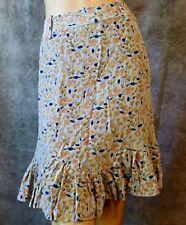 MARC JACOBS Gray Peach Stylized Floral Ruffle Flounce Asymmetrical Silk Skirt 10