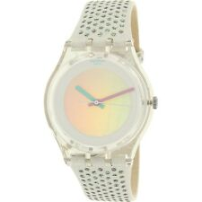Swatch Girl's Gent GE246 Clear Suede Swiss Quartz Fashion Watch