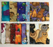 "Charm Squares Cats 4"" x 12 Quilt Fabric Patchwork All Different"