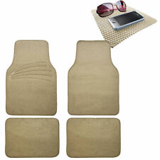 4pcs Full Carpet Floor Mats Universal Fit for Car SUV Beige w/ Beige Dash Mat