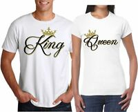 KING AND QUEEN T-SHIRTS  COUPLE MATCHING LOVE VALENTINE CUTE BEST PRICE